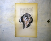 dog portrait original painting  in black  watercolor and tempera on page of antique book -