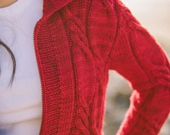 Rosen Twisted Cable Cardigan Knitting Pattern