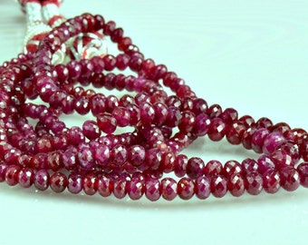 Sale -AAA Ruby Rondelles Micro Faceted Natural Ruby Beads
