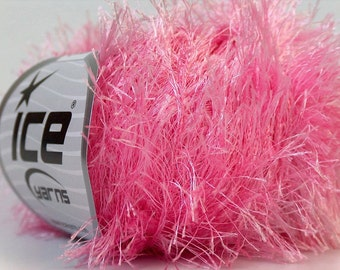 light pink eyelash yarn bulky chunky 50gr polyester ice yarns usa craft rug 1 skein fancy fur turkishmarket usa 22766