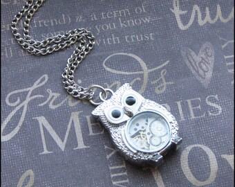 Silver Owl Necklace - Steampunk Owl Pendant - Vintage Watch Movement - Long Necklace - TheEnchantedLocket - Birthday Wedding Graduation Gift