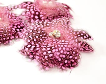 Delightful Feather Flowers - Pink (1pc)