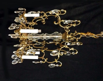 Crystal Chandelier, Vintage Chandeilier, Bright Brass Mad Men Chandeilier
