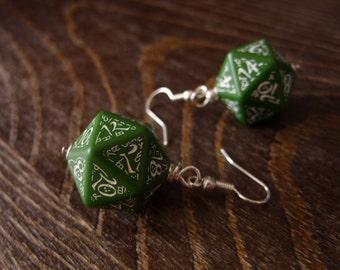 D20 earrings dark elf runes elvish die green white fantasy inscriptions geek rpg dice jewelry
