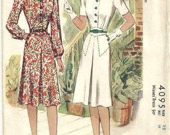 McCalls 4095 Vintage Dress sz 12 year 1941 FF printed uncut