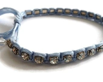 Floss and Rhinestone, Swarovski Crystal Bracelet, Adjustable, Clear, Stackable, Baby Blue, Soft, Periwinkle, Woven, Macrame, Braided, Spring