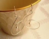 Sterling Silver Handmade S Shaped Chandelier with Wire Wrapped Rose Quartz Briolette