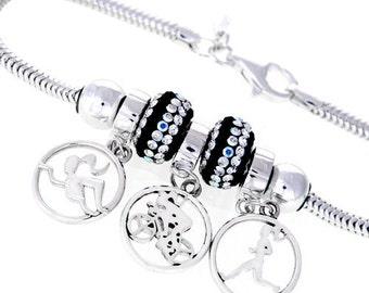 Triathlon Bracelet-Swim,Bike,Run Triple Charms-Sterling Silver-Ironman Gift