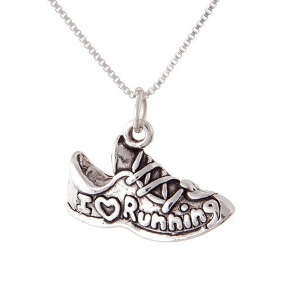 running jewelry sterling silver charm i love by