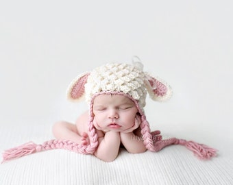 Crochet Lamb Hat, Animal Hat, Newborn Lamb Hat, Baby Girl Hat, Baby Boy Hat, Hat with Ears, Sheep Hat, Baby Shower Gift, Easter Hat