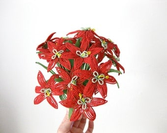Hand Beaded Red Flower Bouquet