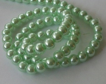 Glass pearl  beads,  round beads with pearl finish -- MINT -- Available in 4mm, 6mm, 8mm and 10mm