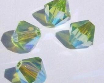 Swarovski Crystal Beads 4mm BICONE crystal beads Peridot AB2X