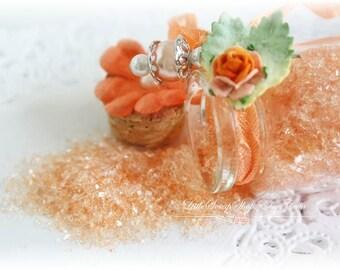 Glitter Glass Bottles .5 Ounces, Hand Tinted Diamond Dust, German Glitter, Peach Cobbler