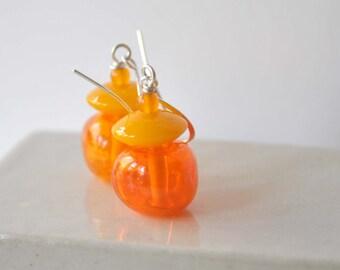 Orange Earrings, Lampwork Earrings, Light Weight Earrings, Glass Earrings