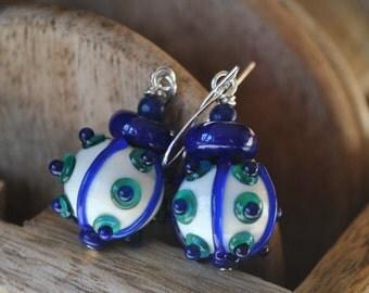 Blue Mine Ball Earrings, Lampwork Glass Earrings, Polka Dot Earrings