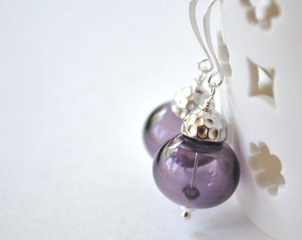 Purple Earrings, Glass Bead Earrings,  Hollow Blown Glass Earrings, Light Weight Earrings