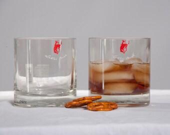 Let 'er buck! Hand cut, polished, Pendleton Whiskey Tumblers Set of two