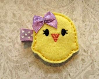 Yellow Easter Chick Hair Clip- Baby Hair Clip- Toddler Hair Clip- Felt Hair Clip- Hair Clippie- Doll Hair Clip