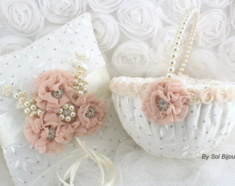 Ring Bearer Pillow, Flower Girl Basket, Ivory, Blush, Lace, Chiffon, Crystals, Pearls, Elegant, Vintage, Gatsby