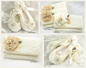 Ivory Clutch, Handbag, Bag, Ivory Ballet Flats, Tan, Beige, Champagne, Shoes, Slippers, Crystals, Pearls, Lace, Vintage Style, Gatsby