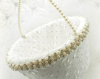Flower Girl Basket, Ivory, Cream, Crystal Basket, Elegant Wedding, Vintage Style, Lace, Pearls, Crystals, Gatsby, Round, Pearl Handle