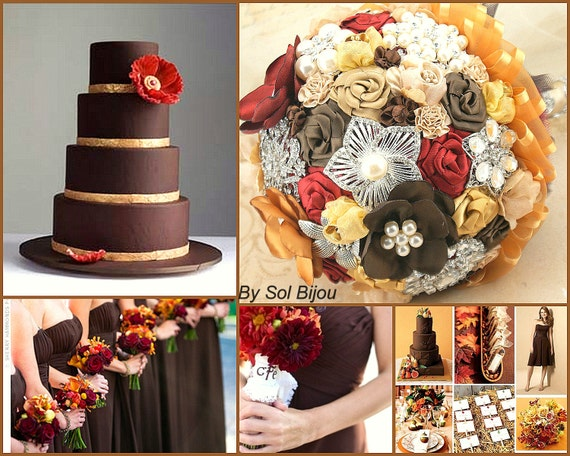 Brooch Bouquet, Chocolate, Brown, Cocoa, Silver, Garnet, Red, Gold, Fall Wedding, Wedding Bouquet, Bridal, Pearls, Crystals, Elegant