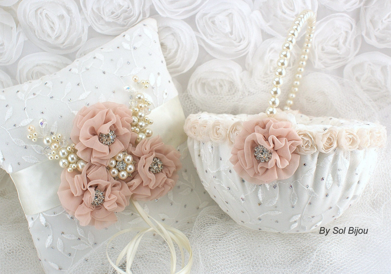 Ring Bearer Pillow Flower Girl Basket Ivory Blush Lace