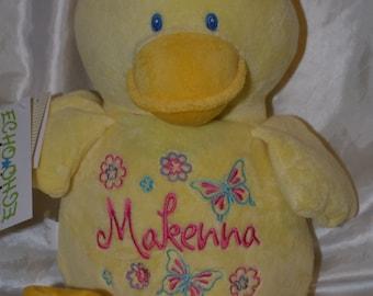 Duck Birth Announcement Baby Keepsake Plush Stuffed Animal Cubbie Personalized