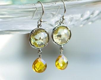 Yellow drop earrings - Yellow cubic zirconia earrings -Canary yellow earrings - Yellow and silver - Yellow diamond crystal jewelry