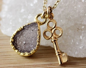 Mauve Druzy and Key Charm Necklace - Key Jewelry - Gifts for Her