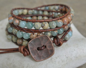 Kesia African Opal Beaded Leather Wrap Bracelet