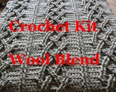 Ready to ship Crochet KIT - DIY Big Chunky Cable crochet Blanket - everything you need - pattern - yarn - hook