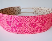 Wide Reversible Fabric Headband -  Cranberry Damask with Tan Quatrefoil