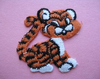 vintage tiger patch 1960s jacket patch tiger mascot orange tiger appliqué new old stock