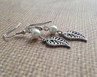 Elise - Drop Leaf Earrings with Pearl Accent