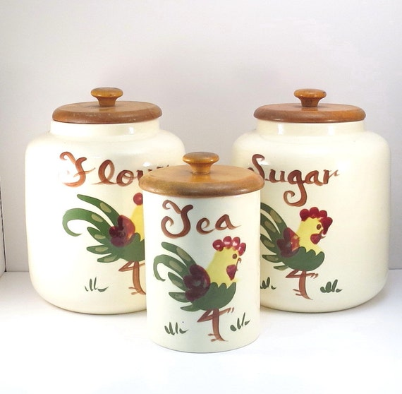 Rooster Canister Set Vintage 1950s Mid Century By