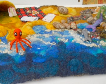 Beach play mat, seaside play mat, felted play mat, play scape, Waldorf, Pre School, play school, mermaid, dolphin, octopus,rock pools