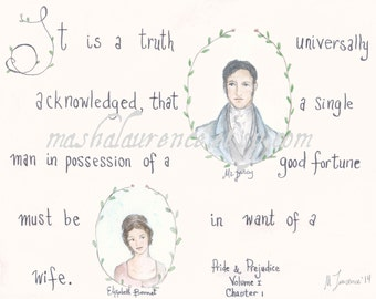 It is a truth universally acknowledged... Pride and Prejudice original watercolor.  Jane Austen art.