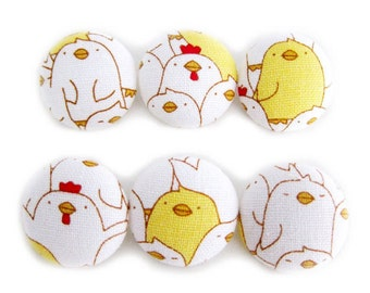 Sewing Buttons / Fabric Buttons - Yellow and White Chickens - 6 Large Fabric Buttons