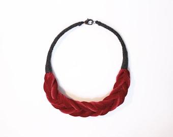 Featherweight Braid Collar Crimson Dark Grey Eco Sustainable Jewelry Slow Fashion Velvet Accessory Handwork Women Red Fishtail Cotton Coil