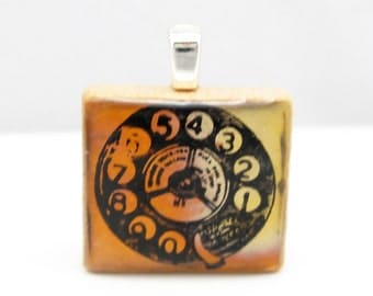 Telephone - old fashioned rotary dial - Glowing metallic Scrabble tile pendant in your choice of colors