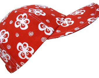 Peppermint Posies - Ladies Womens Red White Baseball Ball Cap Flowers Swirly Dots Bright Cherry Ruby Fun Holiday Fashion Hat by Calico Caps