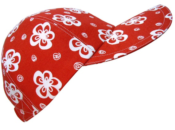 """SALE - """"Peppermint Posies"""" - White Flowers and Dots on Cherry Ruby Red Ladies Baseball Cap Hat"""