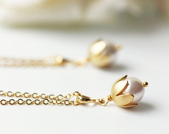 White Pearl Necklace Matte Gold Swarovski Pearl Lily Of The Valley Wedding Bridesmaid Necklace