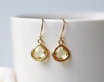 Small Yellow Glass Earrings Citrine Glass Gold Dainty Dangle Titanium Earrings Nickel Free