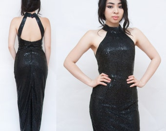 1980s Sequin Starlet Black Body Con Glitz and Glamour Sleeveless Blackless Dress XS
