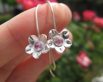 Cherry Blossom Pink Sapphire Hook Earrings Handcrafted Fine Silver