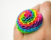 Neon Rainbow Duct Tape Chrysanthemum Ring