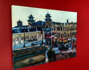 Chicago Chinatown Original Oil Painting - 24 x 18 On Sale